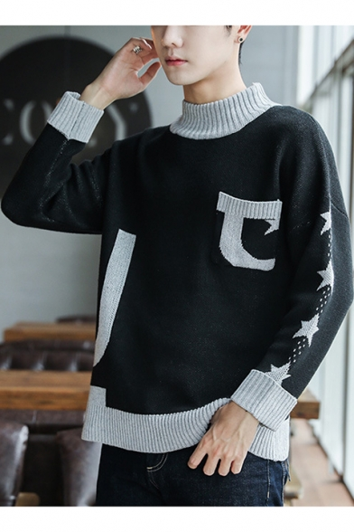 Fashion Men's Mock Neck Color Block Stars Printed Pocket Patched Long Sleeve Casual Pullover Sweater