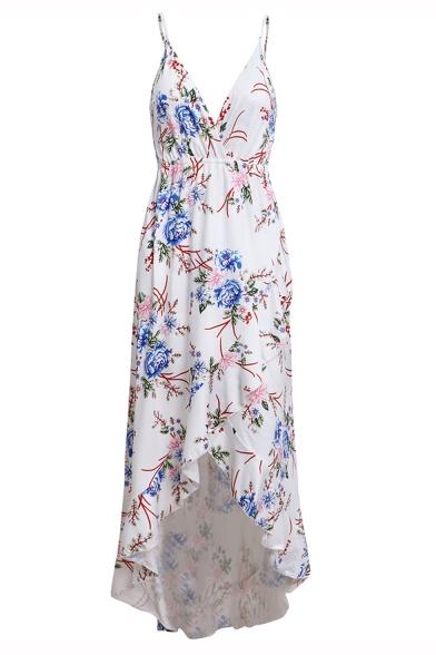 Fashionable V-Neck Floral Printed Spaghetti Straps Asymmetrical Maxi Slip Dress