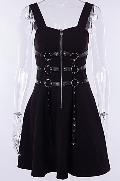 Gothic Punk Style Sleeveless Ring Leather Rope Patched Zip Placket Black Mini A-Line Dress