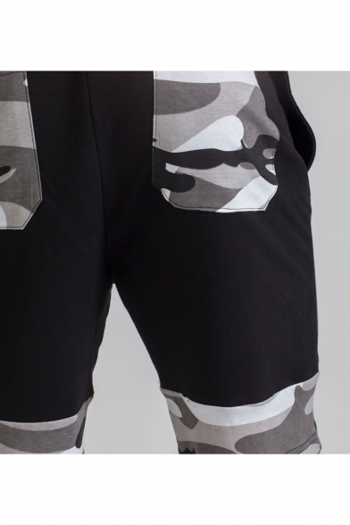 Hot Popular Camouflage Print Drawstring-Waist Breathable Mens Slim Cotton Sport Running Sweat Shorts