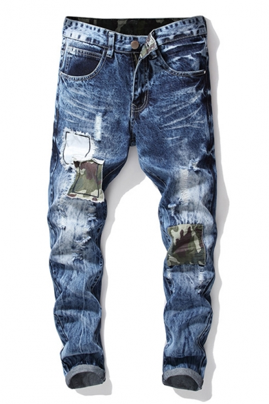 Men's Hot Fashion Camo Applique Patched Slim Fit Ripped Jeans