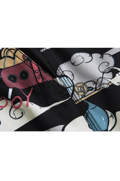 Mens Fashion Cartoon Cloud Panda Printed Drawstring Waist Summer Beach Shorts Black Swim Trunks