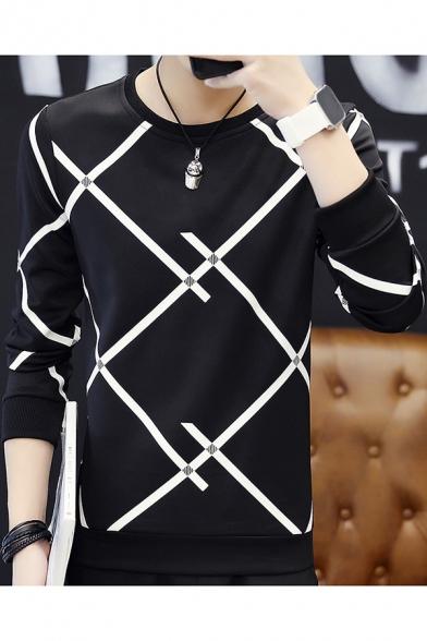 Mens Fashion Stripe Line Printed Crewneck Long Sleeve Loose Fit T-Shirt