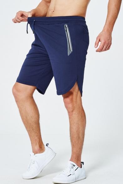 Mens Fashion Vented Side Drawstring Waist Zip Pocket Cotton Sport Active Shorts
