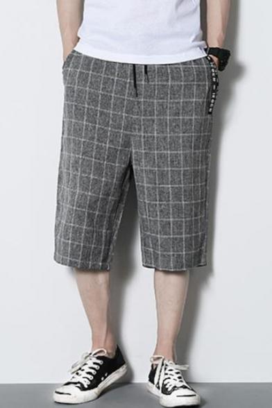 Mens New Stylish Plaid Pattern Drawstring Waist Wide-Leg Loose Fit Cropped Pants