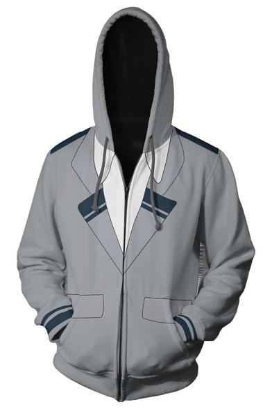 My Hero Academia Comic Cosplay Costume Zip Front Long Sleeve Grey Hoodie