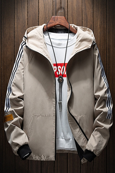 New Fashion Stripe Long Sleeve Mens Hooded Casual Military Zip Up Coat