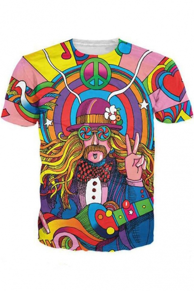 New Fashion Womens Mens Hippie Musician Funny 3D Print Casual T-Shirt