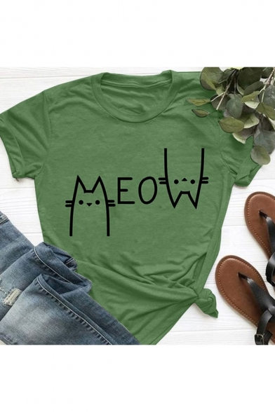 New Stylish Cat Letter MEOW Print Basic Short Sleeve Cotton Leisure T-Shirt