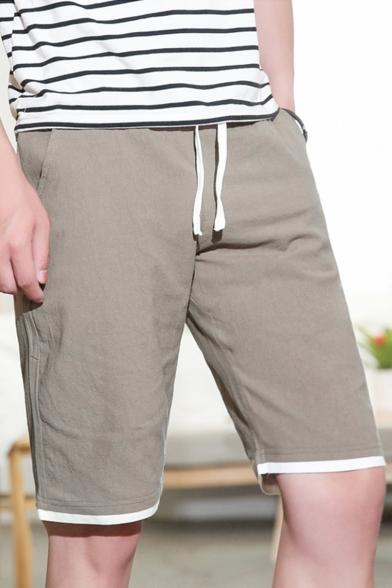 Summer New Fashion Simple Plain Cotton Loose Beach Lounge Shorts