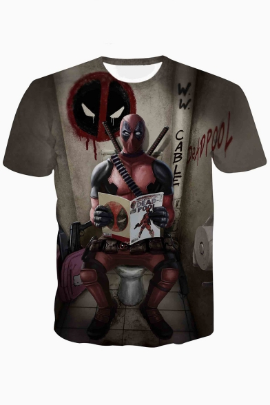 Summer New Trendy Funny Cool Character Print Basic Short Sleeve T-Shirt