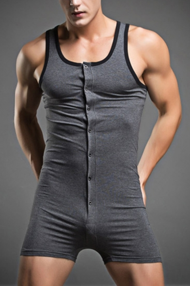 Summer Sexy Cotton Male Underwear Body Shaping Homewear Men Pajama Rompers Wrestling Suit