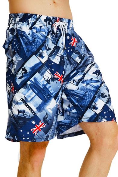 Unisex Fashion Surfer Flag Printed Drawstring Waist Loose Quick-Dry Flap Pocket Back Blue Swim Shorts