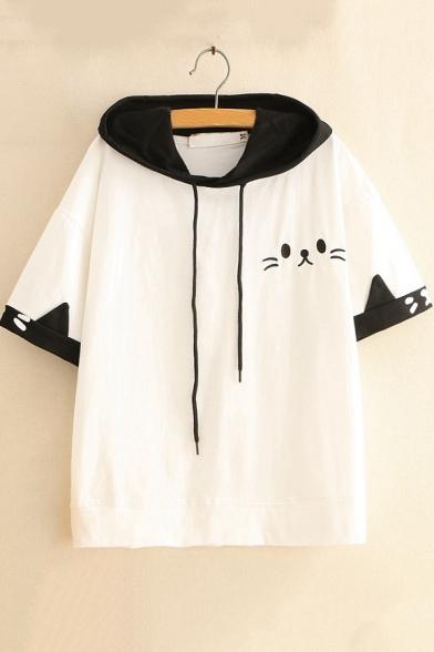 Funny Cartoon Cat Embroidery Color Block Short Sleeve Drawstring Hood T-Shirt