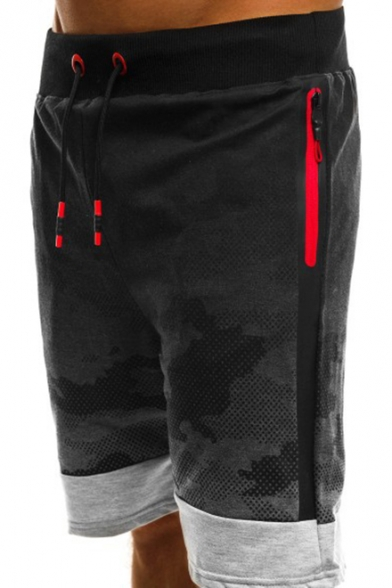 Hot Popular Camouflage Print Drawstring-Waist Patched Detail Zip Pocket Mens Sport Running Sweat Shorts