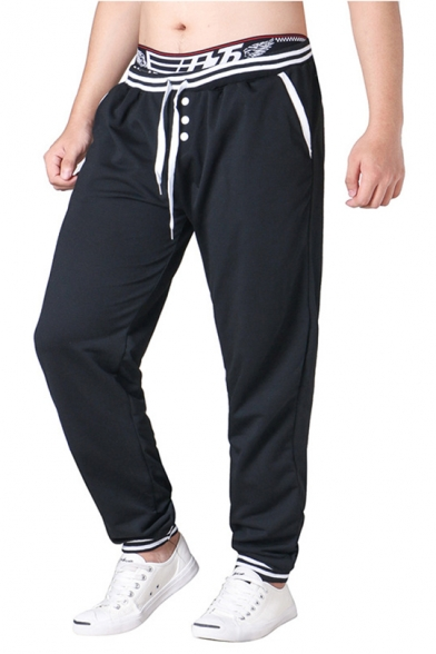 Mens Fashion Striped Print Button-Fly Drawstring Waist Loose Casual Sweatpants