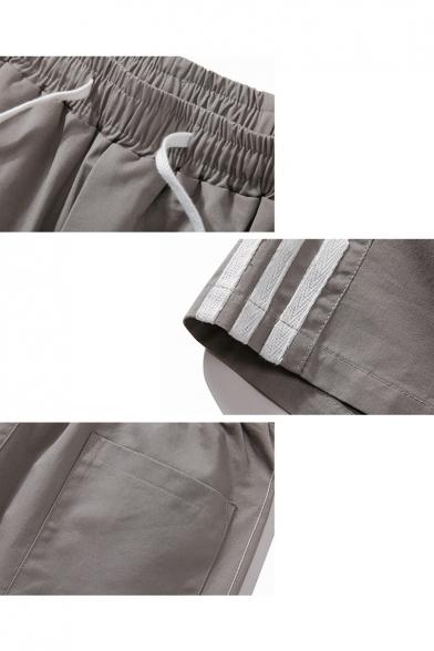 Mens Fashionable Stripe Side Drawstring-Waist Leisure Cotton Straight Shorts