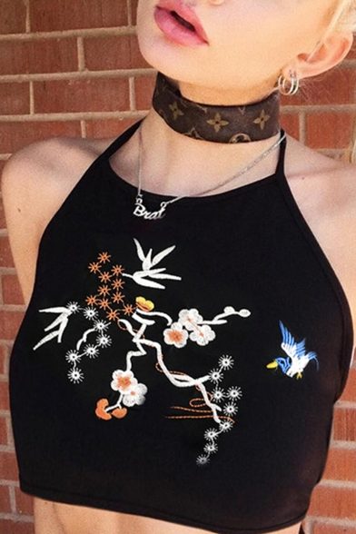 New Fashion Floral Embroidered Open Back Black Cropped Cami Top