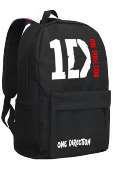 Pop Band Letter Printed Unisex Black School Bag Backpack 29*45*13CM