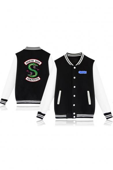 Popular Snake Logo Printed Long Sleeve Button Down Varsity Jacket Baseball Jacket