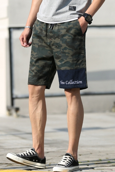 Simple Letter NEW COLLECTION Fashion Camo Pattern Washed Cotton Military Shorts for Men