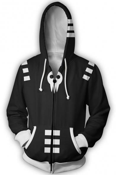 Soul Eater 3D Skull Printed Cosplay Costume Sport Casual Black Zip Up Hoodie