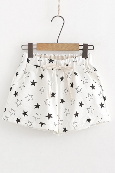 Summer Comfortable Linen Drawstring Waist Allover Star Printed White Shorts