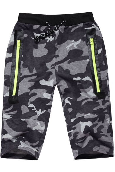 Summer Trendy Camo Print Drawstring-Waist Zip Pockets Fitness Running Shorts Sweat Shorts for Men