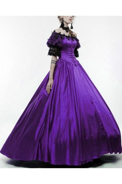 Vintage Middle Ages Off the Shoulder Short Sleeve Lace Panel Floor Length Flared Dress