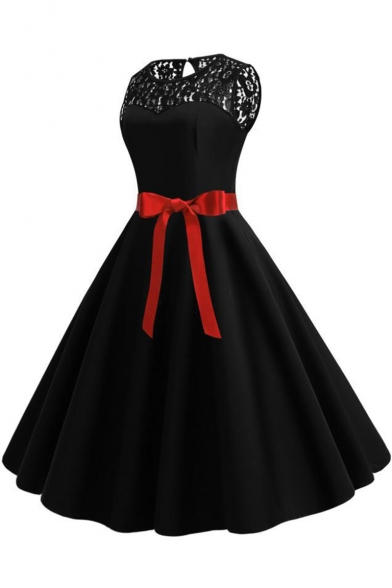 Women's Trendy Plain Lace Panel Sleeveless Bow-Tied Waist Midi Fit and Flared Dress