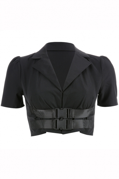 Cool Black Notched Lapel Collar Short Sleeve Double Buckle Crop Shirt for Women