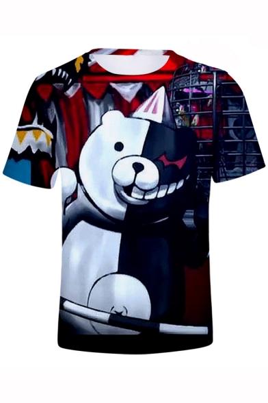 Fashion 3D Cartoon Black and White Bear Printed Short Sleeve Unisex T-Shirt