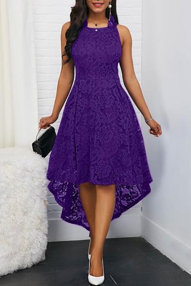 Glamorous Sexy Round Neck Sleeveless High Low Hem Lace Dress