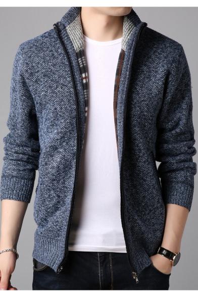 Guys Casual Loose Heather Color Stand Collar Zip Closure Plain Coat Cardigan