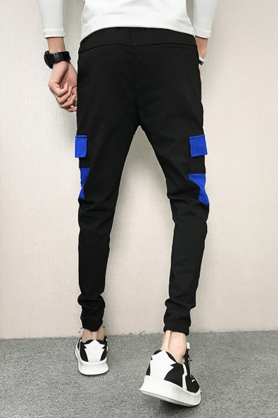 Guys Fashion Colorblock Flap Pocket Side Drawstring Waist Black Slim Fit Sport Cotton Cargo Pants