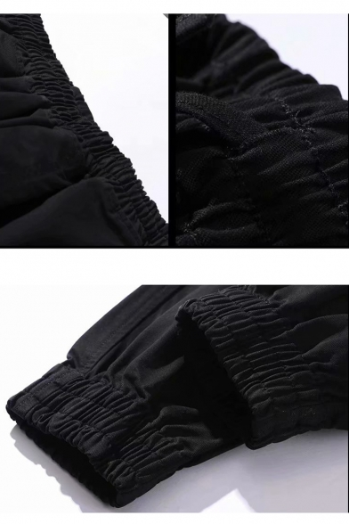 Guys New Fashion Loose Casual Elastic Cuff Buckle Ribbon Detail Cargo Pants