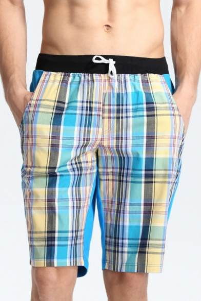 Holiday Beach Surfing Drawstring Plaids Pattern Colorblocked Loose Swim Shorts for Men