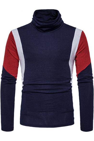 Hot Fashion Color Block Long Sleeve Mens Turtleneck Slim Fit Basic Sweater