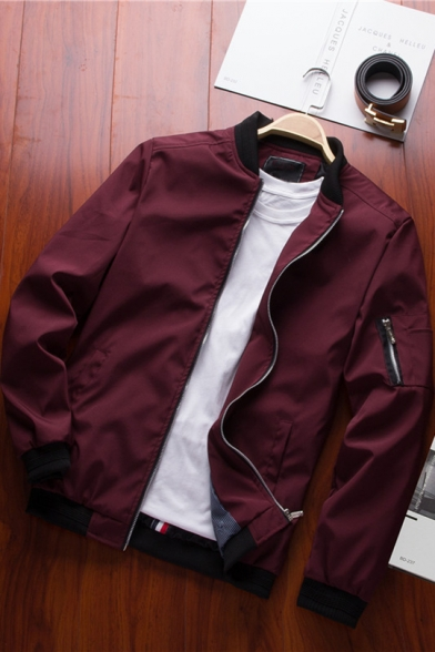 Hot Fashion Plain Stand Collar Slim Fit Zip Placket Long Sleeve Casual Jacket