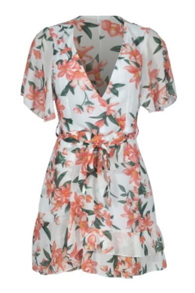 Hot Fashion Short Sleeve V-Neck Floral Print Tied Waist Mini A-Line Dress