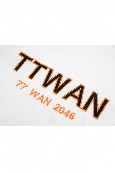Hot Popular Simple Letter TTWAN Embroidery Color Block Unisex Loose Relaxed Hoodie