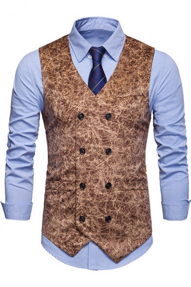 Men's Fashion Texture Printed Double Breasted Casual Waistcoat