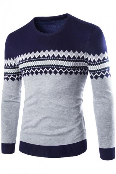 Men's Trendy Geometric Printed Jacquard Crewneck Long Sleeve Fitted Sweater