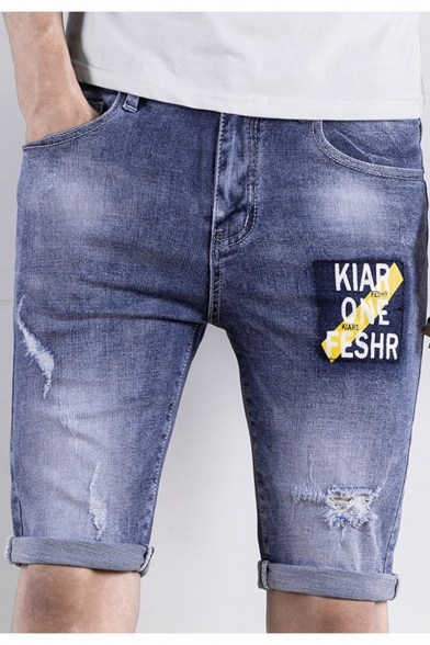 Mens New Trendy Simple Letter Printed Retro Ripped Slim Fit Light Blue Denim Shorts
