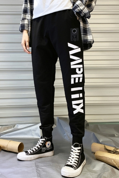 Mens Street Style Fashion Letter Printed Drawstring Waist Casual Black Track Pants