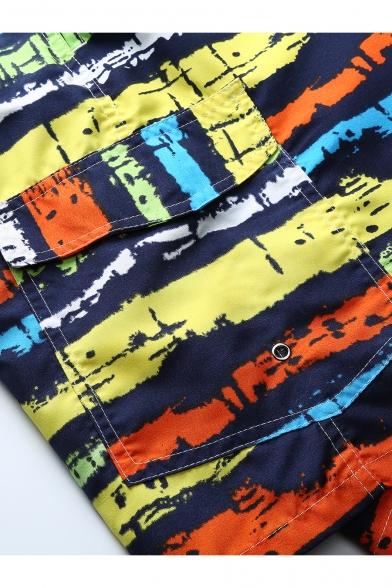 Mens Stylish Ink Rainbow Stripe Printed Fast Drying Guys Drawstring-Waist Holiday Beach Swim Trunks