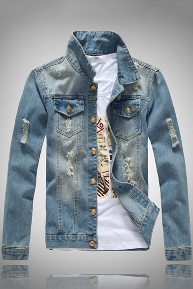 New Stylish Ripped Details Long Sleeve Slim Fit Light Blue Denim Jacket for Men