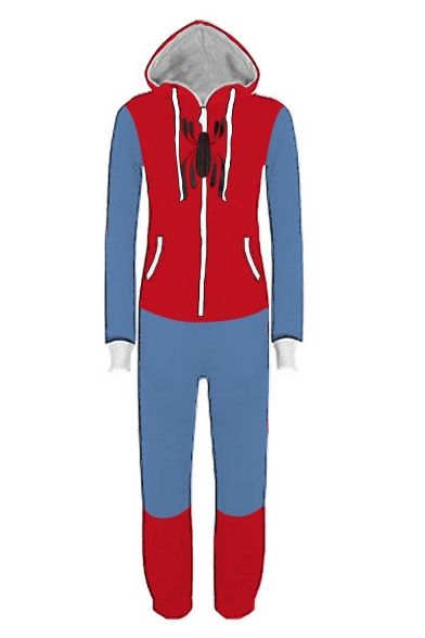 New Stylish Spider Printed Colorblock Halloween Cosplay Zip Up Hoodie Jumpsuits