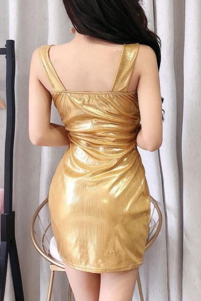 Nightclub Sexy Metallic Color Spaghetti Strap Crisscross Front Mini Bodycon Dress