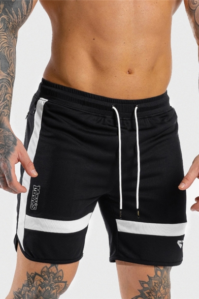 Popular Letter Stripe Side Drawstring Waist Quick Dry Mens Slim Fit Sport Shorts